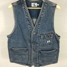 126b7bdc Vintage Men's Calvin Klein CK Denim Vest Large 90's VtG | eBay Vintage Men,  Window