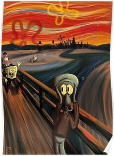 A Spongebob Squarepants parody of The Scream by Edvard Munch Cartoon Wallpaper, Wallpaper Spongebob, Retro Wallpaper, Disney Wallpaper, Edvard Munch, Le Cri Munch, Scream Parody, Scream Meme, Spongebob Memes