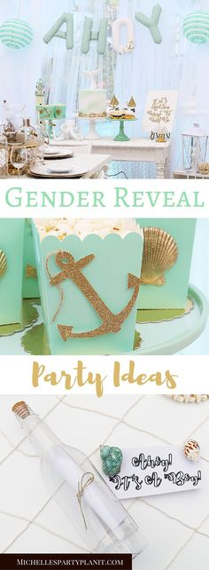 Celebrate the new baby with a Let's Sip & Sea What It Will Be Gender Reveal Party With Cricut! Lot's of easy nautical ideas for the big reveal! Nautical Gender Reveal Party Ideas by Michelle's Party Plan-It for @cricut AD #cricutmade #partywithcricut