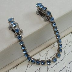 Vintage Sweater Guard Clip  Blue Rhinestones by RebeccasFinds, $24.00