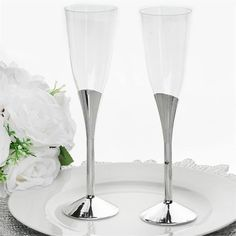 6oz champagne flutes 6pk silver