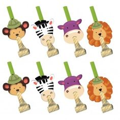 Safari Adventure Party Blowers (Pack of 8) | Jungle Animals Party Supplies | Safari Adventure Party Supplies - Discount Party Supplies