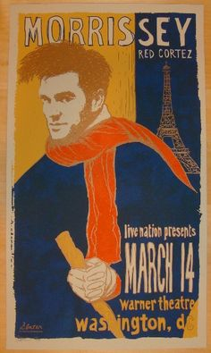 Morrissey w/ Red Cortez - silkscreen concert poster (click image for more detail) Artist: Todd Slater Venue: Warner Theatre Location: Washington, DC Concert Date: 3/14/2009 Edition: signed and numbere