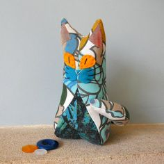 Retro ReBorn Cat 70s Vintage Fabric blue and Yellow by audreyscat, £10.00