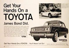 Toyota Corona Sedan Ad #advertisement #jamesbond #ad #print #toyota #corona #bennett #vintage #throwback #retro #pennsylvania