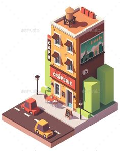Buy Vector Isometric Creperie Restaurant by on GraphicRiver. Vector isometric creperie restaurant building with signboard, awning and Paris travel billboard Isometric Art, Isometric Design, Game Ui Design, Map Design, Resto Vegan, Cube World, Vaporwave Wallpaper, Minecraft City, Low Poly Models