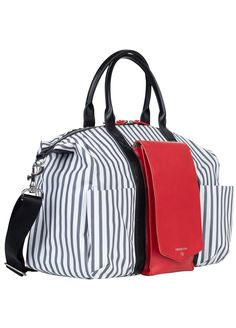 TWELVE little - Peek-a-Boo Satchel in Grey Stripe/Red | Queen Bee Diaper Bag, Nappy Bags, Peek A Boos, Vegan Leather, Satchel, Nursing Pads, Fashion Bags, New Mums, Red Queen