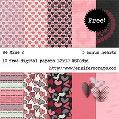 "Free Digital Scrapbook Paper Pack: ""Be Mine 2"" by JenniferScraps.Com ✿ Join 6,900 others. Follow the Free Digital Scrapbook board for daily freebies. Visit GrannyEnchanted.Com for thousands of digital scrapbook freebies. ✿ ""Free Digital Scrapbook Board"" URL: https://www.pinterest.com/grannyenchanted/free-digital-scrapbook/"