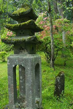 Moss covered stone lantern-- Nikko, Japan