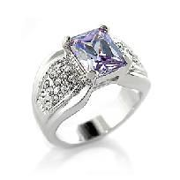 3 CT Princess cut Rhodium Plated Amethyst Cocktail Ring WoW sizes 5-10