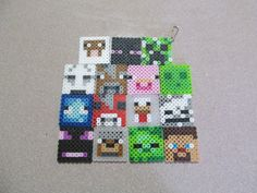 Unofficial Minecraft Inspired Creeper Zombie Steve Face Keychain Keyring // Minecraft Inspired Birthday Party Favor // Stocking Stuffer