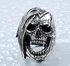 US$ 2.92 wholesale Stainless Steel Skull Rings Biker Jewelry