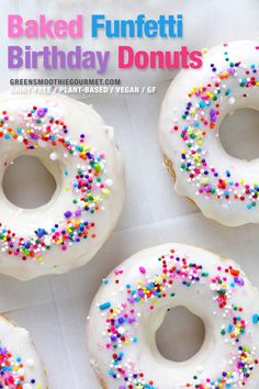 Funfetti baked birthday donuts, healthier vegan donuts with a light tasty icing that showcases funfetti sprinkles beautifully. A fast, easy recipe, gluten-free, dairy-free and with a keto option. Healthy Donuts, Healthy Vegan Breakfast, Healthy Vegan Desserts, Vegan Dessert Recipes, Healthy Chocolate, Vegan Treats, Donut Recipes, Chocolate Recipes, Dinner Recipes