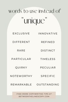 Words to Use Instead of Unique   Between the Lines Copywriting Stop using boring words! Elevate your copywriting with these synonyms for unique that will make your writing fresh and keep your readers engaged! #copywritingtips #copywritingcheatsheet #writingtips #freelancewriter Writing Words, Writing A Book, Writing Tips, Social Media Marketing Business, Content Marketing, Motivacional Quotes, Copywriting, English Writing Skills, Words To Use