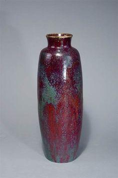 Pierre Adrien Dalpayrat, Bourg-la-Reine. Large vase, c. 1900. H. 60 cm. Brown stoneware, high firing in red and green. Marked: Dalpayrat.