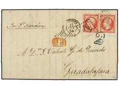 FRANCIA. Yv.24 (2). 1864. BAYONA a GUADALAJARA (México). 80 cts. rosa (2). Tasada a la llegada con 2 reales en azul. MAGNÍFICA.  Dealer SOLE...