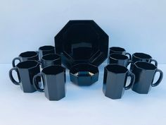 Excited to share this item from my #etsy shop: Vintage, Arcoroc France, Black Octagon, 12 Piece Set, Includes 10 Mugs, a Serving Bowl and a Smaller Bowl, Pristine, Vintage Condition #glass #black #blackarcorocset #luminarcfranceset #octagondishes #arcorocfrancemugs #arcorocfrancebowl #vintageservingbowl #vintageentertaining Pink Depression Glass, Vintage Dishes, Vintage Holiday, Vintage Colors, Bowl Set, Serving Bowls, Black Glass, France, Mugs