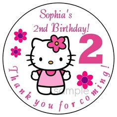 HELLO KITTY Custom Birthday Party Favor Stickers LARGE Personalized Labels  #Custom #BirthdayChild
