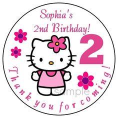 HELLO KITTY Custom Birthday Party Favor Stickers LARGE Personalized Labels  #Custom #BirthdayChild