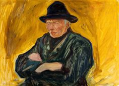 Edvard Munch (Norwegian, 1863 - 1944) An Old Man ca 1902 Edvard Munch, Dark Paintings, European Paintings, Statues, Post Impressionism, Paul Gauguin, Art For Art Sake, Yellow Background, Portrait Art