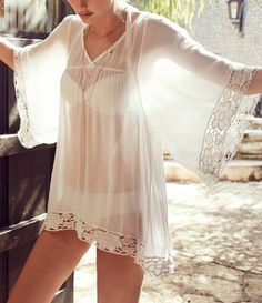 93888002b9 MG Collection Sheer Chiffon Lace Trim Flowy Sleeves Beachwear Swimsuit  Cover Up White Bikinis
