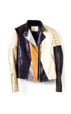 Metallic Foilback Leather Colorblocked Biker Jacket by 3.1 Phillip Lim