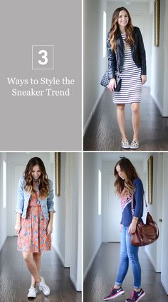 Sneakers are a comfy classic, but just because they're comfortable doesn't mean they can't be cute. Rock your mom style with these sneaker fashion tips. Modest Outfits, Classy Outfits, Chic Outfits, Casual Dresses, Girl Outfits, Fashion Outfits, Fashion Tips, Stylish Dresses, Holiday Outfits