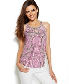 LOVE LOVE LOVE this shirt from Macys, I REALLY want it!!!   INC International Concepts Printed Embellished Keyhole Top