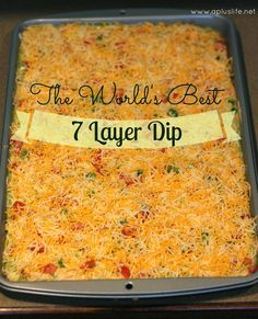 *** Really really good bean dip! I followed this recipe, except for instead of using tomatoes and green onions, I used a layer of blended salsa. The taco seasoning made it so delicious - it was a party hit!