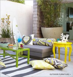Outdoor design. LOVE the repurposing an outdoor bright colors!