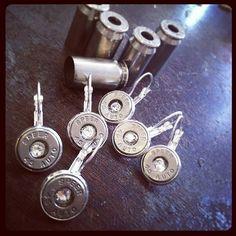 Bullet Casing Dangle Earrings , Bullet Jewelry, Bullet Earrings, Repurposed Ammo,  Nice Shot, Gun Rights, Eco Friendly