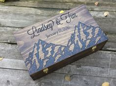 Mountain themed personalized and custom double wedding wine box for two bottles. Love letter ceremony time capsule for sale