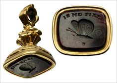 """19th Century French Seal Fob, 18K Gold  A French intaglio with a romantic motto """"I attach myself"""" and the image of a butterfly."""