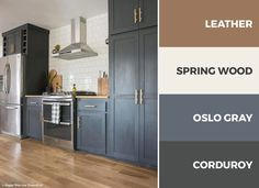 dark gray, brown, and white kitchen is sophisticated and grounded. Read on to discover over 30 captivating kitchen color schemes. Kitchen Cabinet Color Schemes, Kitchen Color Palettes, Kitchen Colors, Kitchen Paint Schemes, Design Websites, Dark Grey Kitchen, Brown Color Schemes, Brown Cabinets, Espresso Cabinets