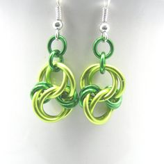 Celtic Knot Chainmaille Earrings by dancingleafstudios Get your Green On!