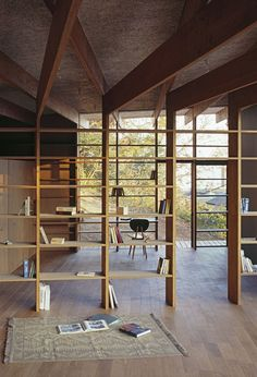 Geo Metria House | iGNANT.de ... I'm awestruck by the beams that turn into shelves. Wonderful detail.