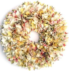 Spring Wreath  Shabby Wreath  Yellow Wreath  by LushWreathWorks, $85.00