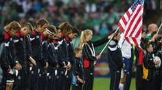 The U.S. Rugby team observe a minute of silence in memory of 9/11 victims before a match between Ireland and the United State at the 2011 Rugby World Cup on Sunday in New Zealand.