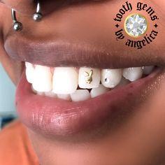 Playboy Bunny Tattoo, Bunny Tattoos, Halo Tattoo, Poke Tattoo, Diamond Teeth, Tooth Diamond, Gems Jewelry, Cute Jewelry, Jewellery