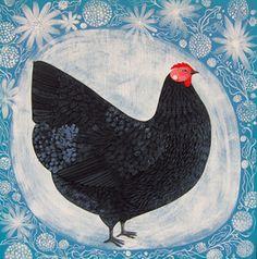 Just Plain C O U N T R Y / Garden Hen Original Folk Art Painting