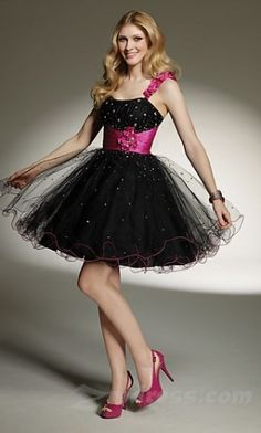 a puffy flirty prom dress