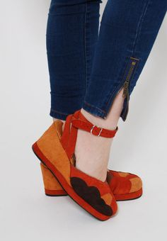 Vintage 70s WEDGES Orange SUNSET Boho SUEDE by LotusvintageNY