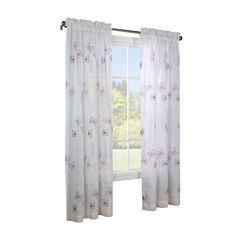 Legacy J - Papillon Faux Linen Embroidered Window Pole Top Panel White