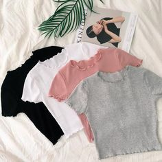 Curly edge cotton summer short t-shirt Harajuku Fashion 👘 Tumblr Outfits, Mode Outfits, Tumblr Clothes, Cute Comfy Outfits, Trendy Outfits, Trendy Clothing, Clothing Apparel, Summer Clothing, Clothing Hacks