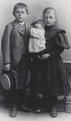 Little Boy and Girl Holding Doll with Hat - Germany Victorian Photos, Antique Photos, Vintage Photographs, Old Photos, Old Pictures, Girl Photos, Vintage Children Photos, Vintage Boys, Vintage Pictures