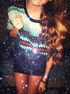Patterned sweater with effortless waves   tumblr outfits for girls - Google Search