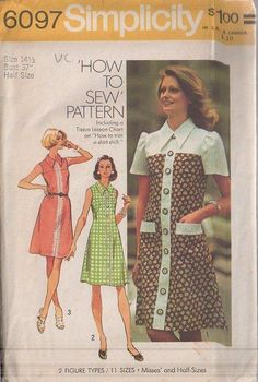 MOMSPatterns Vintage Sewing Patterns - Simplicity 6097 Vintage 70's Sewing Pattern SUPER COOL Contrast Yoke Wide Pointed Collar Faux Front Buttoned Day Dress, Pockets, Back Zip