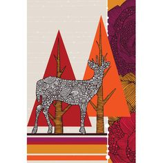 "East Urban Home Deer in Woodland Graphic Art on Wrapped Canvas Size: 18"" H x 12"" W x 1.5"" D"
