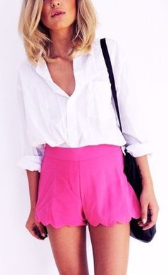 White Silk Blouse and Hot Pink Scallop Shorts