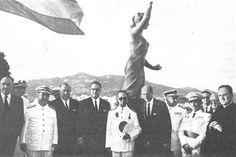 1967 onthulling van het beeld van de vissersvrouw in lloret de Mar